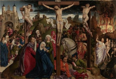 The Crucifixion、1490s by Dreux Budeマスター`油絵、30 x 44インチ/ 76 x 113 cm、の印刷ポリエステルキャンバス、このが安いアート装飾アート装飾キャンバスプリントは、Perfectly Suitalbe Forジムギャラリーアートとホーム装飾、ギフトの商品画像