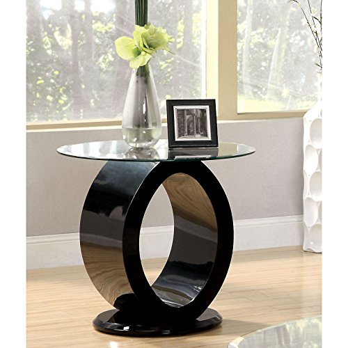 High Gloss Modern Oval 8mm Tempered Glass Topped Wood Pedestal Base O-Shaped Accent End Table Includes Our Exclusive E-Book (High Golss Black Finish)