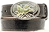 Nocona Boy's Bull Rider Buckle Belt, Black, 24
