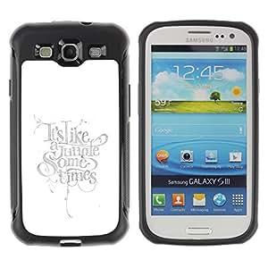 Híbridos estuche rígido plástico de protección con soporte para el SAMSUNG GALAXY S3 - text light bright calligraphy