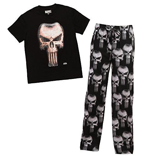 (Marvel Punisher Skull Mens 2 Piece Sleep Set Large Black)