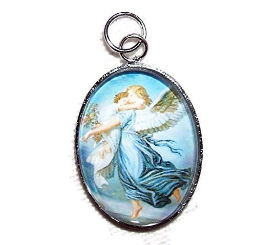 GUARDIAN ANGEL Charm Pendant Silver Pltd GLASS Covered