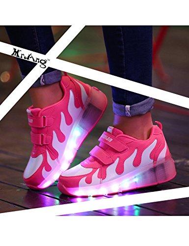 Mr.Ang con Luces LED Coloridos Parpadeante Neutra ruedas de Patines de Rueda Patín Zapatos Zapatos del Patín Zapatos Deportivos Niños y Niñas de Calzado Deportivo Zapatos de Skate JD031 rosa