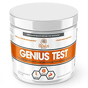 Genius Test - The Smart Testosterone Booster for Men   Natural Energy Supplement, Brain & Libido Support, Fat Loss   Muscle Builder with KSM-66 Ashwagandha, Shilajit and Tongkat Ali,120 Veggie Pills