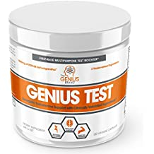 GENIUS TEST - The Smart Testosterone Booster For Men | Natural Energy Supplement, Brain & Libido Support, Fat Loss | Muscle Builder with KSM-66 Ashwagandha, Shilajit and Tongkat Ali,120 Veggie Pills