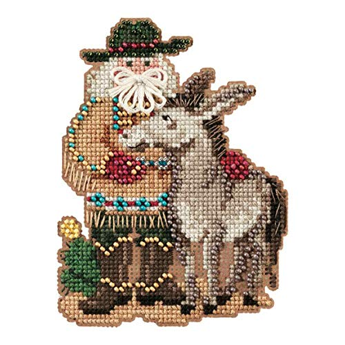 West Santa - Desert Santa Beaded Counted Cross Stitch Ornament Kit Mill Hill 2011 Southwest Santas MH201301