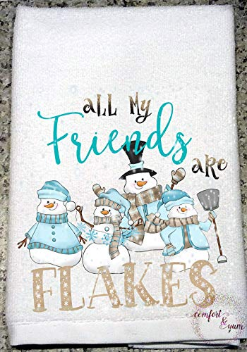 All My Friends are Flakes Snowmen in Sweaters & Hat Scarf Mittens Kitchen Towel Hostess Holiday Gift