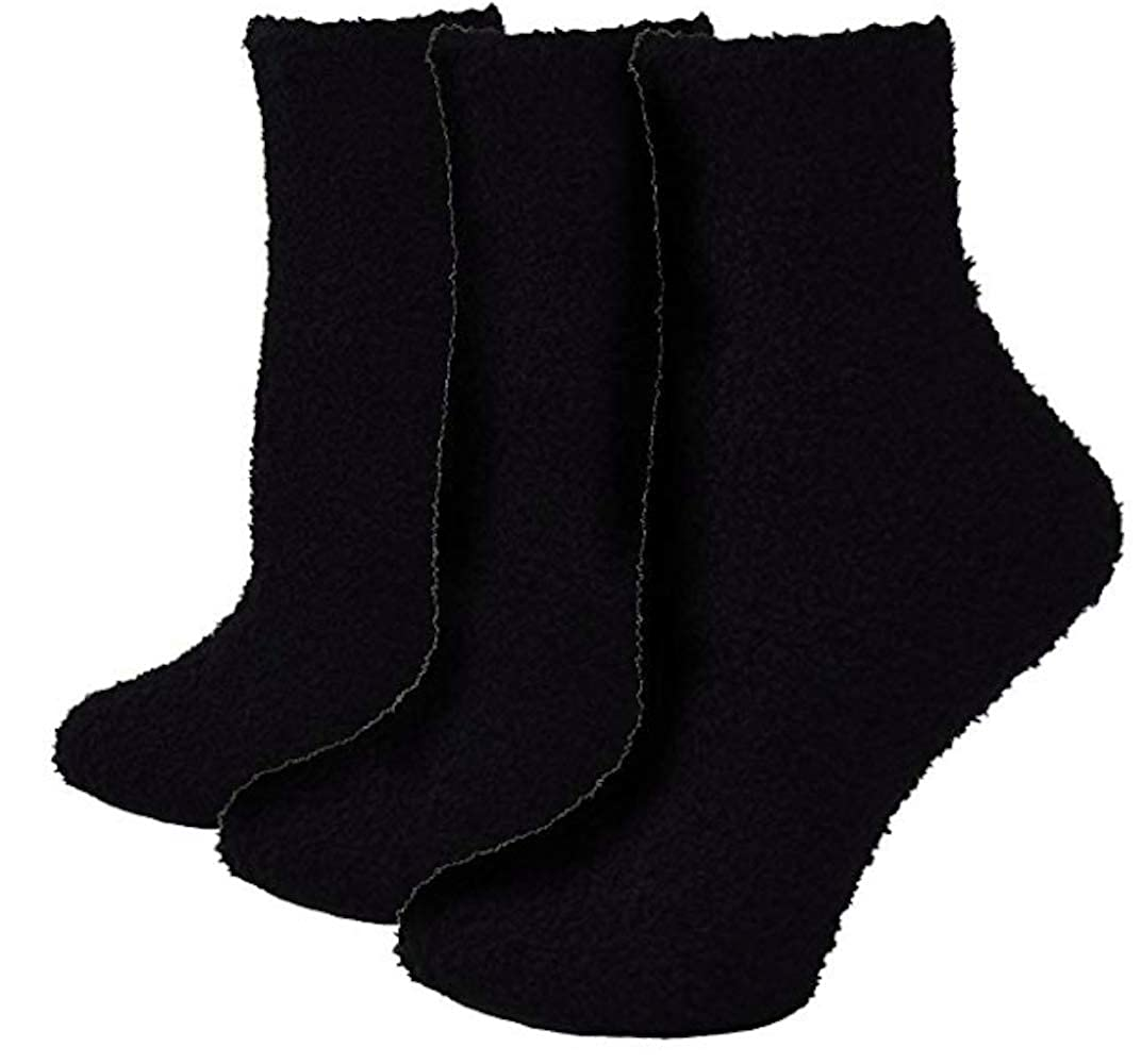 Black, Pack of 3 Pairs ELLITE Womens Premium Soft Fuzzy Solid Stripes Winter Warm Cozzy Microfiber Crew Home Socks Ladies Crew Socks size 911