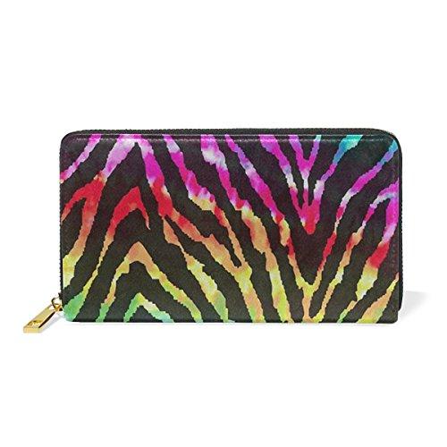 Zebra Print Checkbook Wallet - Colorful Zebra Skin Texture Leather Large Long Zipper Clutch Women Wallet Phone Passport Checkbook Card Holder