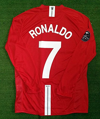 ROONALDO7 MANCHESTER UNITED HOME RETRO LONGSLEEVE SOCCER JERSEY UCL 2008 2009