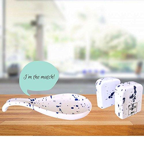 Kauri Ceramic Salt Shaker Set - White Splatter Salt & Pepper Shakers for Cooking and Kitchen Decor by Kauri (Image #3)