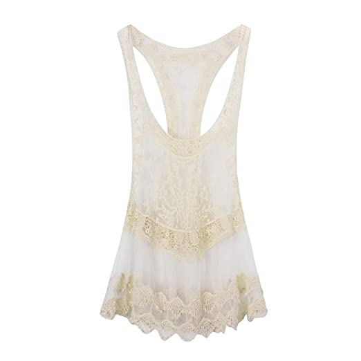 76e8a60689 YANG-YI Elegant Tank Tops Hollow Crochet Cover up Solid Color Beach Wear Bathing  Suit