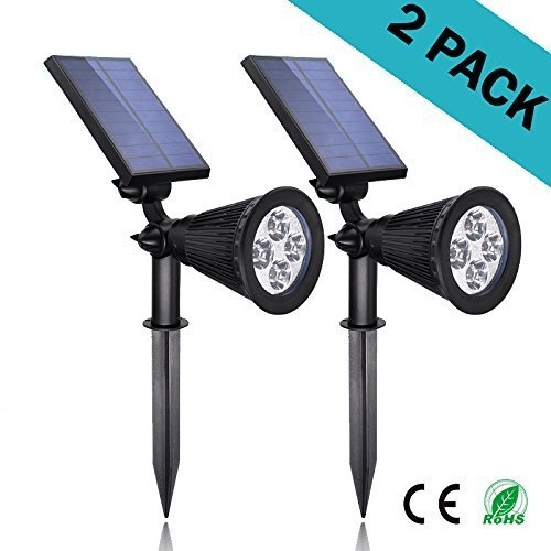 Solar Lights 2-in-1 LED Outdoor Landscape Lighting - 200 Lumens Spotlight - 2 Pack - Easy to Install - Waterproof, Perfect as InGround Garden, Security, or Wall Light - White Light