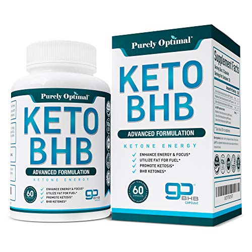 Premium Keto Diet Pills - Utilize Fat for Energy with Ketosis - Boost Energy & Focus, Manage Cravings, Support Metabolism - Keto BHB Supplement for Women and Men - 30 Day Supply PURELY OPTIMAL