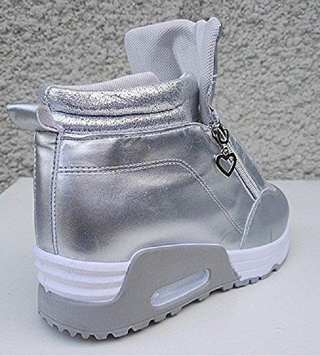Basket compensées montante femme chaussure fille lacet sport mode chic WB-550 ARGENTE