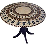 """interesting tuscan outdoor kitchen style Mosaic Table Cloth Round 36"""" to 48"""" Elastic Edge Fitted Vinyl Table Cover Inlaid Atlantis Pattern Brown Tan Green"""