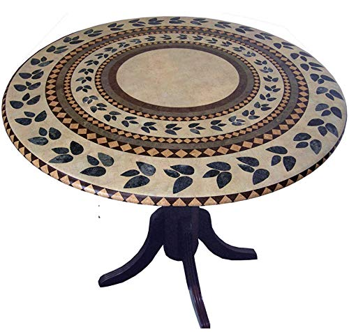 Mosaic Table Cloth Round 36 Inch To 48 Inch Elastic Edge Fitted Vinyl Table Cover Inlaid Atlantis Pattern Brown Tan Green (Patio 48 Table Round Covers)