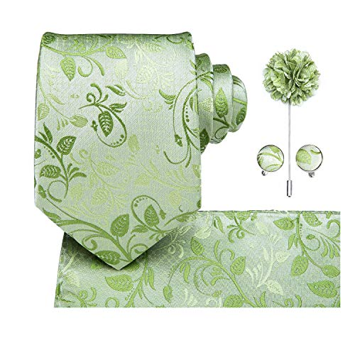 - Dubulle Flower Lapel Pins Green Mens Tie and Hankerchief Set with Cufflinks