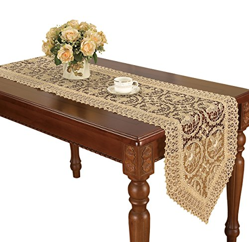 Simhomsen Vintage Beige Lace Table Runners Dresser Scarves 16 × 72 inch