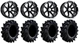 "Bundle - 9 Items: MSA Black Diesel 14"" UTV Wheels 28"" Intimidator Tires [4x137 Bolt Pattern 12mmx1.5 Lug Kit]"
