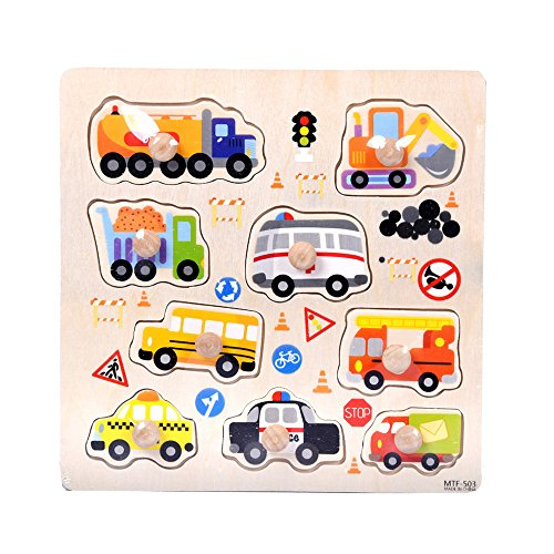 Choosebuy Baby Infant Toddler Wooden Cartoon Puzzle, 9 Pieces Simple Zoo Farm Transportation Seabed Animals Jigsaw Puzzle Early Learning Training Toy Birthday Christmas Gift for Children Kids (B) ()