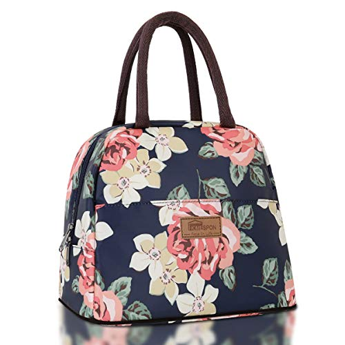 HOMESPON Lunch Bag Insulated Tote Bag Lunch Box Resuable Cooler Bag Lunch container Waterproof Lunch holder for Women/Men (large peony print) (Lunch Container Bag)
