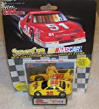 NASCAR #30 Michael Waltrip Pennzoil Racing Team Stock Car With Driver's Collectors Card And Display Stand. Racing Champions Black Background 51 Car