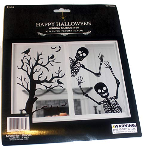 (2 Pieces Window Silhouettes, Mural, Skeletons and Haunted Tree Halloween Decoration 30