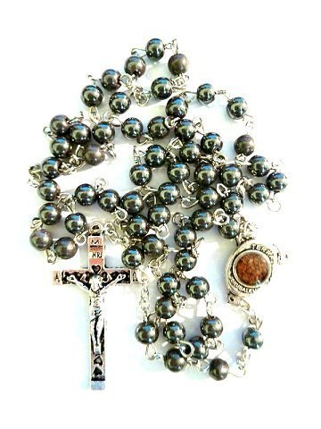 7003fb4e982 Gorgeous 27 Black Hematite JERUSALEM SOIL Rosary Beads Cross Crucifix  Necklace Chain Pendant Chaplet Christian Religious Catholic ...