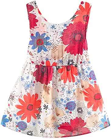 ca4361bc3528 Little Girls Dresses Baby Summer Dress Clothing Set Sleeveless Floral Dress  with Straw Hat 0-