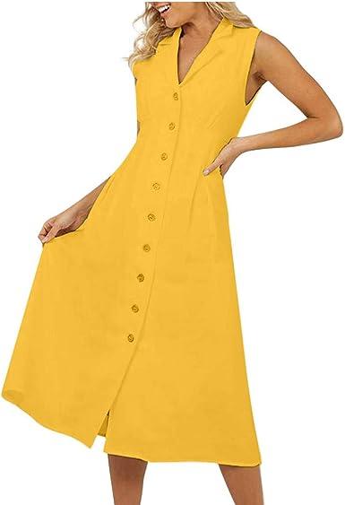 VEMOW Faldas de Las Mujeres Vestido Mujer de algodón y Lino con Botones y Escote en V de Verano sin Mangas una Fila de Botones: Amazon.es: Ropa y accesorios