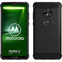 Gosento Motorola Moto G7 / Moto G7 Plus Case, Shock Absorption Cover Soft TPU Anti Scratch Carbon Fiber Design Back Case for Moto G7 (Black)