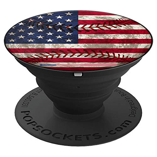 - Baseball Bat Ball American Flag 4th of July Mom Dad Gift PopSockets Grip and Stand for Phones and Tablets