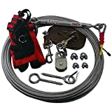 Freedom Aerial Dog Run with Polypropylene Lead Line and Medium Sporn Mesh Safety Harness (Woodland Camouflage, 75 FT)