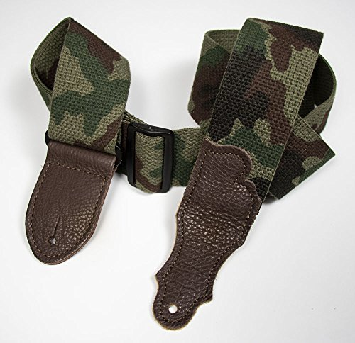 "Franklin Strap - 2"" cotton - Guitar Strap - Camouflage with Chocoloate End Tab"