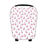 SHELLBOBO Convenient Baby Car Seat Highchair Shade Cover Flamingo Print Canopy (pink)