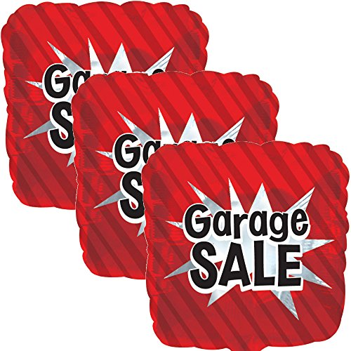 3 pc Red Garage Sale Starburst Square Store Promotional Foil Balloon Re-Usable -