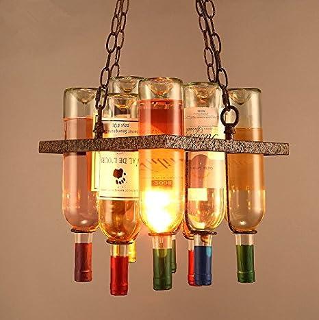 GQLB Botella de vino arañas colgantes Creativo de Arte Bar (300 * 330mm) lámparas