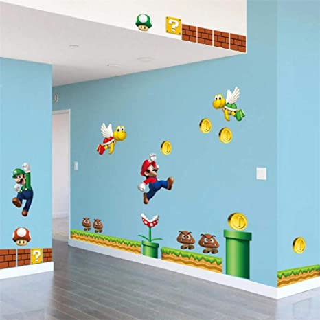 Adesivi Murali Super Mario.Adesivi Murali Funny Diy Super Mario Animali Cartoon Gioco
