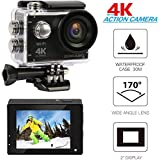 "KOCASO [4K Ultra HD] Sports 170° Ultra Wide-Angle Lens Action Camera. 2"" LCD Display, Supports Slow Motion/Time Lapse/Loop/Driving Record. Built-In Wi-Fi/HDMI, FREE Waterproof Underwater Case- Black"