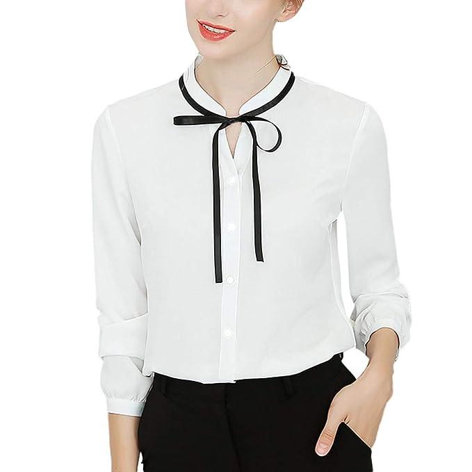 ... Professional Camiseta de Mujer Manga Larga Cuello Medio Blusa Venda Arco El botón Tops Convencional Slim Fit Simple Arriba: Amazon.es: Ropa y accesorios