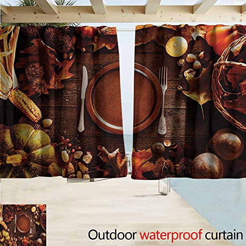 (Wlkecgi Harvest Pergola Curtain Dinner at Thanksgiving Fall Color Theme Plate and Cutlery Various Seasonal Food Insulated with Grommet Curtains for Bedroom W63 xL72 Brown Orange)