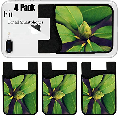 (Liili Phone Card holder sleeve/wallet for iPhone Samsung Android and all smartphones with removable microfiber screen cleaner Silicone card Caddy(4 Pack) Rhododendron retro photo filter effect 285878)