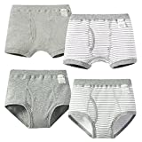 Happy Cherry Breathable Boxer Shorts 4 Packs Toddler Boy Striped Underwear Size 110 Grey