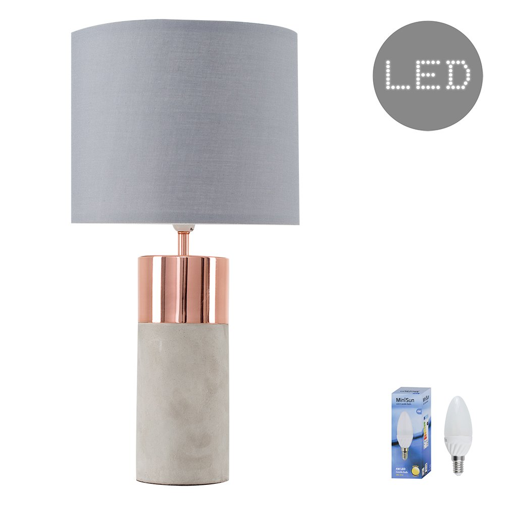 Modern Cement/Stone & Copper Effect Cylinder Table Lamp Base MiniSun