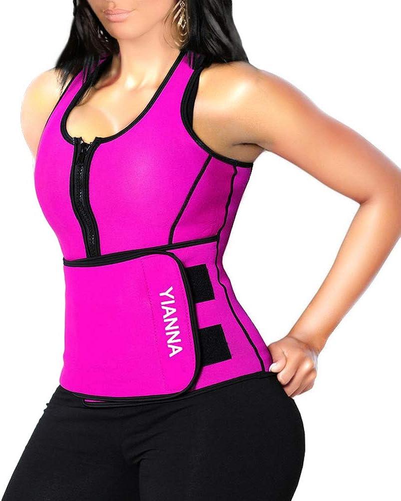 YIANNA Sweat Sauna Suit for Women Neoprene Waist Trainer Vest Zipper Body Shaper with Adjustable Tank Top