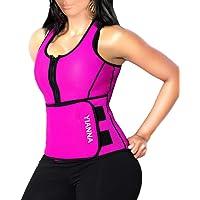YIANNA Neoprene Sauna Suit Tank Top Vest with Adjustable Shaper Waist Trainer Belt