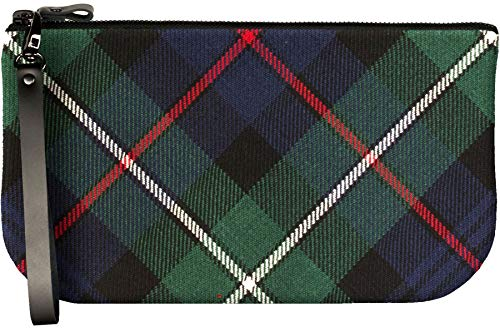 Small Leather Clutch Bag With MacKenzie Tartan Large Enough to Fit iPad Mini