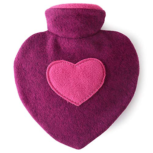 Hugo Frosch 1L Heart Shaped Hot Water Bottle with Cover Highest Quality - Made in Germany by Hugo Frosch