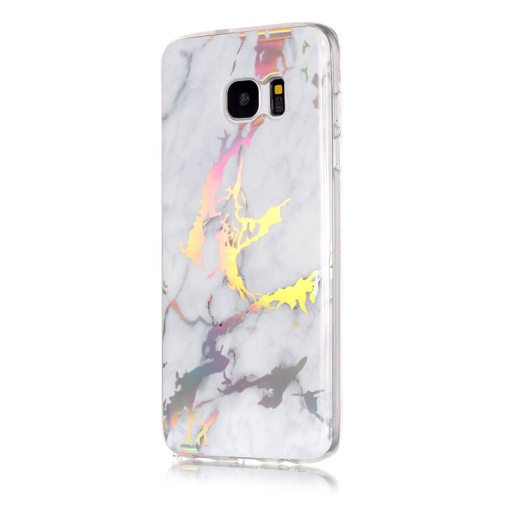 san francisco 2b4b6 a789f IVY Galaxy S7 Edge Marble Case with Colour Electroplating and TPU Cover  Protective Shell For Samsung S7 Edge SM-G935 - White